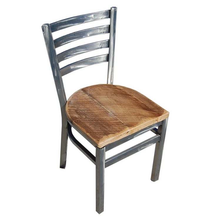 Industrial ladderback chair reclaimed wood seat for Restaurant furniture