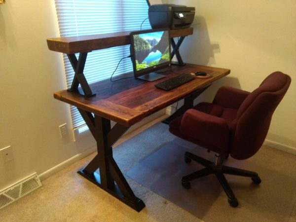 Desk with Printer Bench