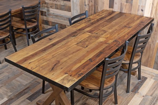 Reclaimed Wood Tabletop with Metal Edge