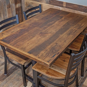 Straight Plank Reclaimed Wood Restaurant Tabletop